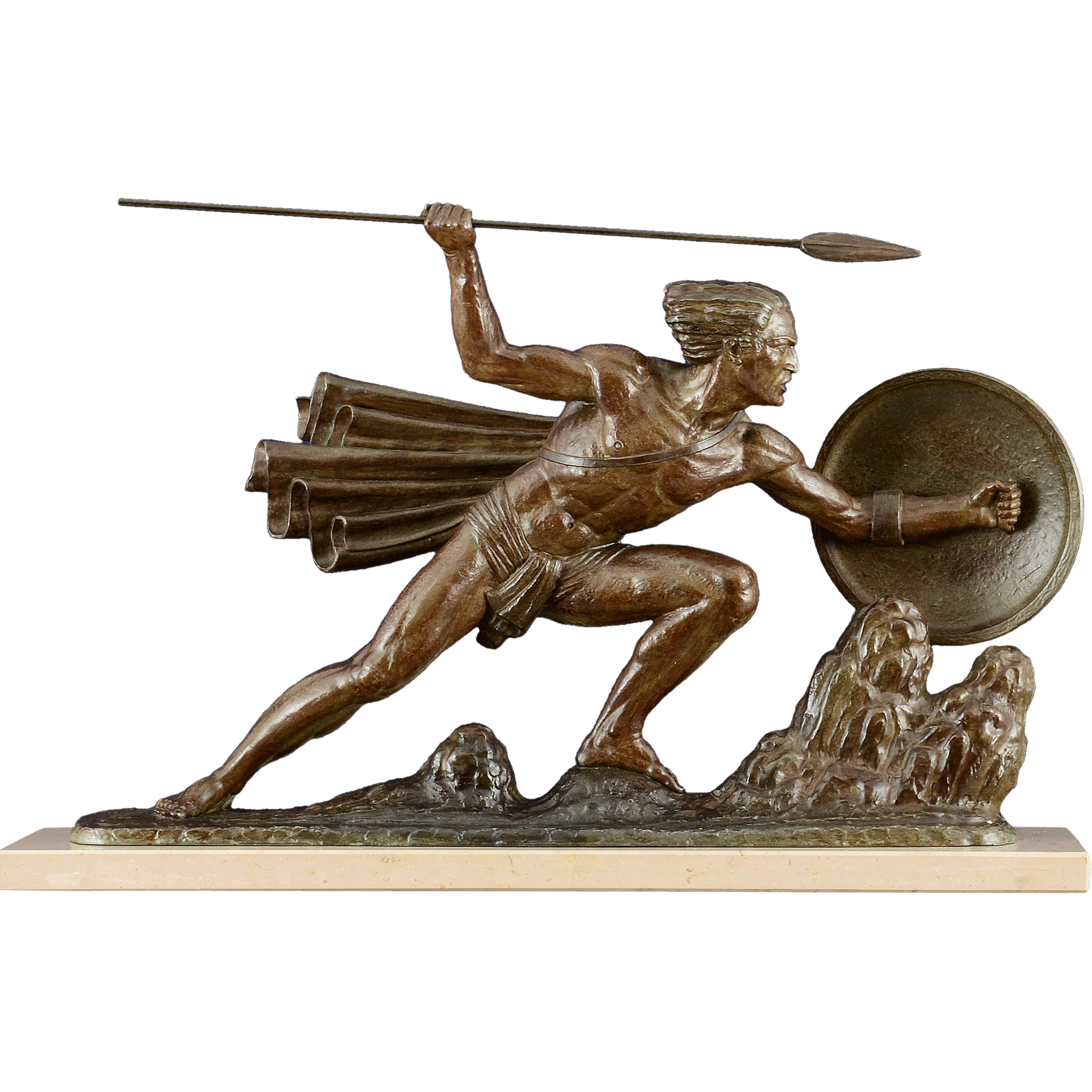 art deco sculpture the warrior by bouraine from. Black Bedroom Furniture Sets. Home Design Ideas