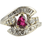 18K White Gold Pear Ruby and Diamond Ring