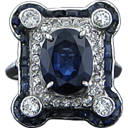Art Deco 4.6 Carat Sapphire Ring with Sapphires and Diamonds