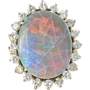 18K Gold 11.07 Carat Black Opal Ring with Diamonds