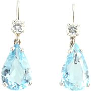 Aquamarine Drop Earrings With VVS2 Diamonds
