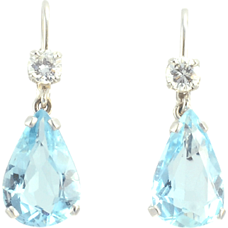 Aquamarine Drop Earrings With VVS2 Diamonds