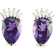 Pear Shaped Amethyst and Diamond Earrings