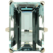 28.31 Carat Emerald Cut Aquamarine Ring