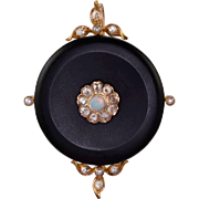 0.36 CTW Diamond, Opal, Seed Pearl and Onyx Pendant