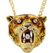 Rare Victorian Diamond Tiger Head Pendant