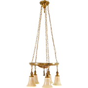 Four Chain Drop Chandelier with Five Steuben Shades