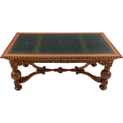 Victorian Style Oak and Green Leather Library Table