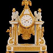 French Empire Style Mantel Clock Signed Bergmiller, Paris