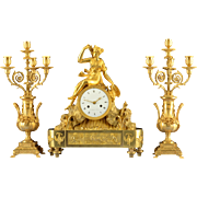 French Gilt Three Piece Garniture Clock Signed H I Chatelain