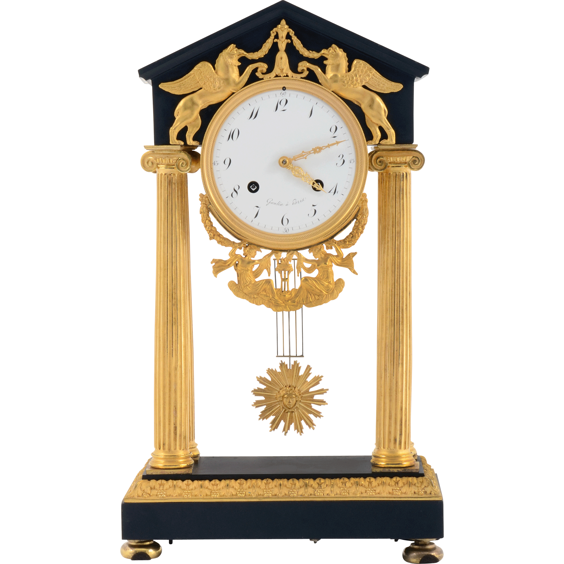 French Directoire Style Empire Clock Signed Gaulin