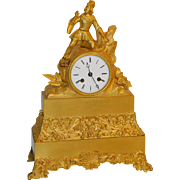 French Gilt Bronze Statue Clock