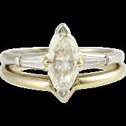 0.75 Carat Marquise Diamond Platinum Engagement Set