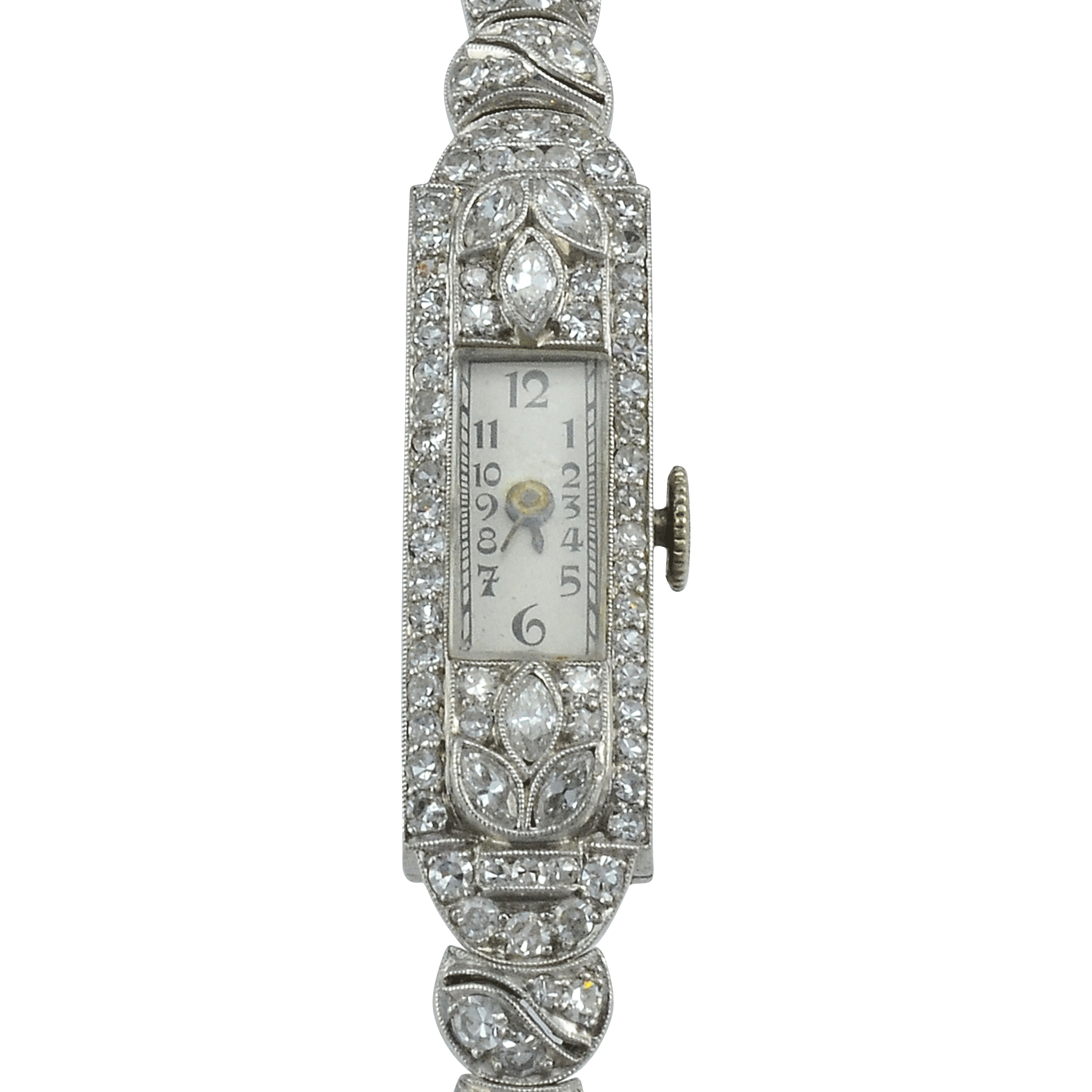 Swiss Art Deco Ladies Platinum Diamond Glycine Wrist Watch