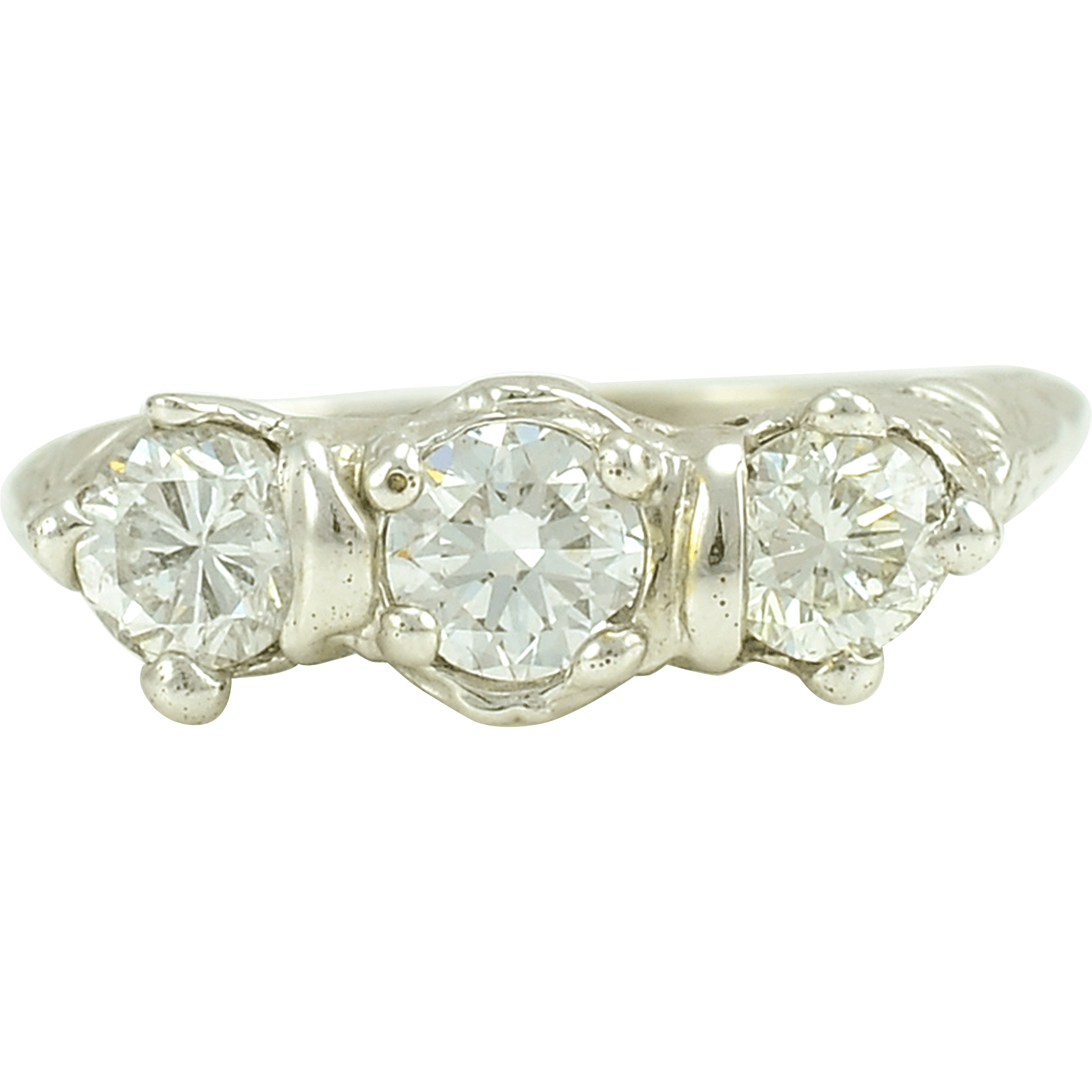 18 Karat White Gold Art Deco Three Diamond Ring