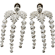 7.05 Carat Total Weight Diamond Leaf Dangle Earrings