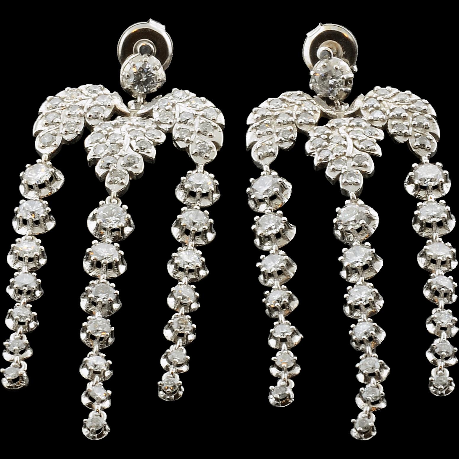 7.05 Carat Total Weight Diamond Leaf Dangle Earrings