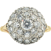 18 Karat Yellow Gold VVS2 Diamond Dome Ring