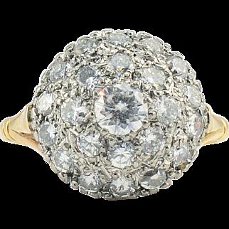 18 Karat Yellow Gold VVS2 Diamond Dome Ring
