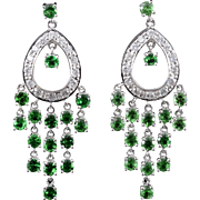 Rare Green Tsavorite Garnet and Diamond White Gold Earrings