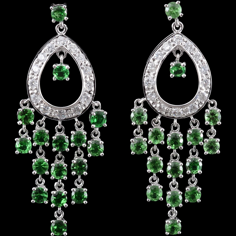 Rare Green Tsavorite Garnet and Diamond White Gold Earrings