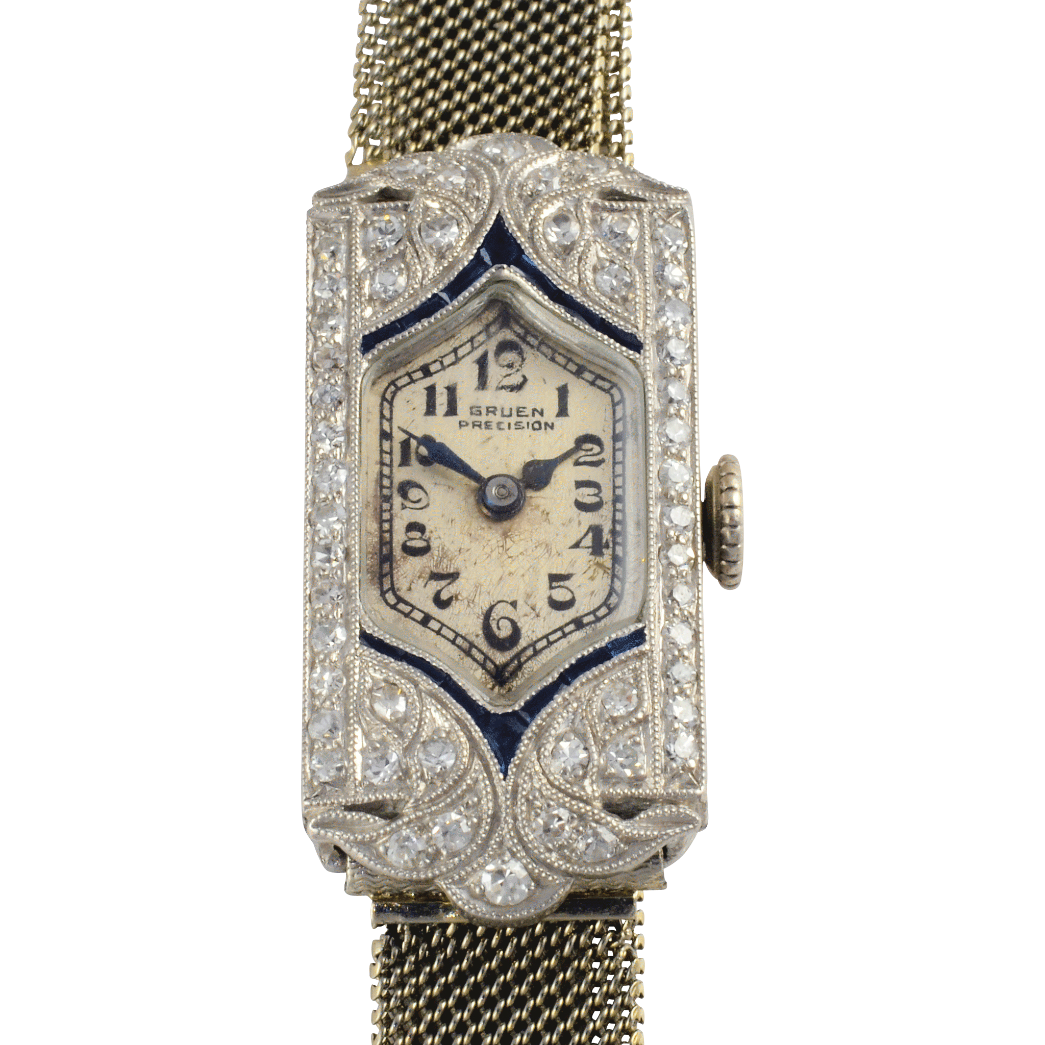 1.25 CTW Diamond and Sapphire Art Deco Ladies Wrist Watch by Gruen