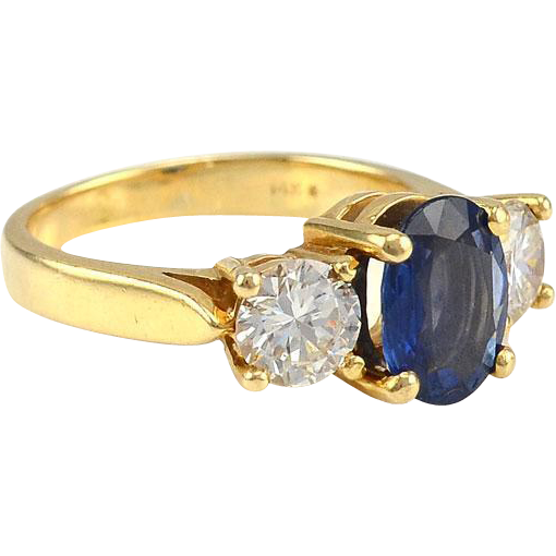 1.44 Carat Sapphire Ring with Diamonds