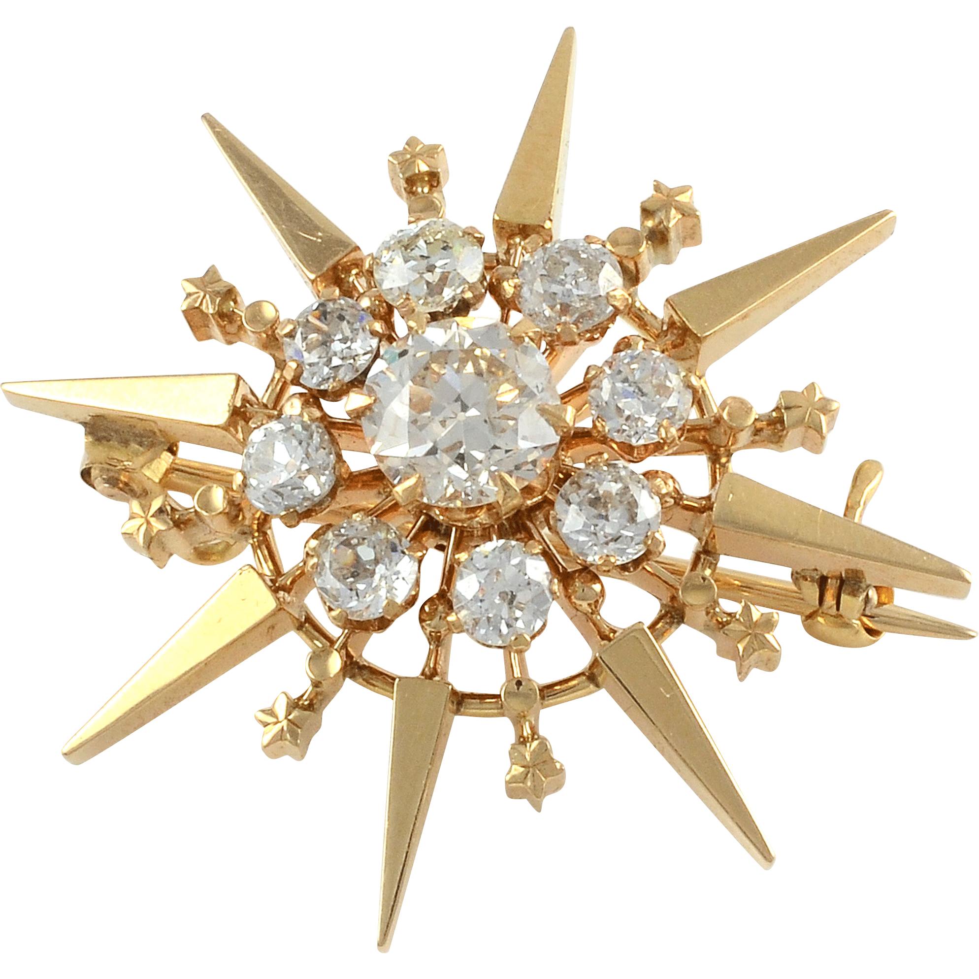 English Victorian Brooch with 2.14 CTW Diamonds