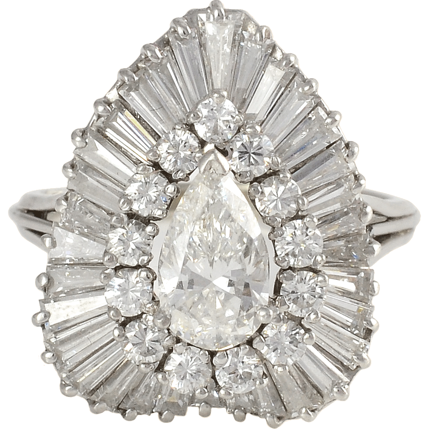 Platinum 4.96 CTW Diamond Ring with Pear Center