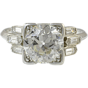 Platinum Art Deco VVS2 2.36 Carat Center Diamond Ring