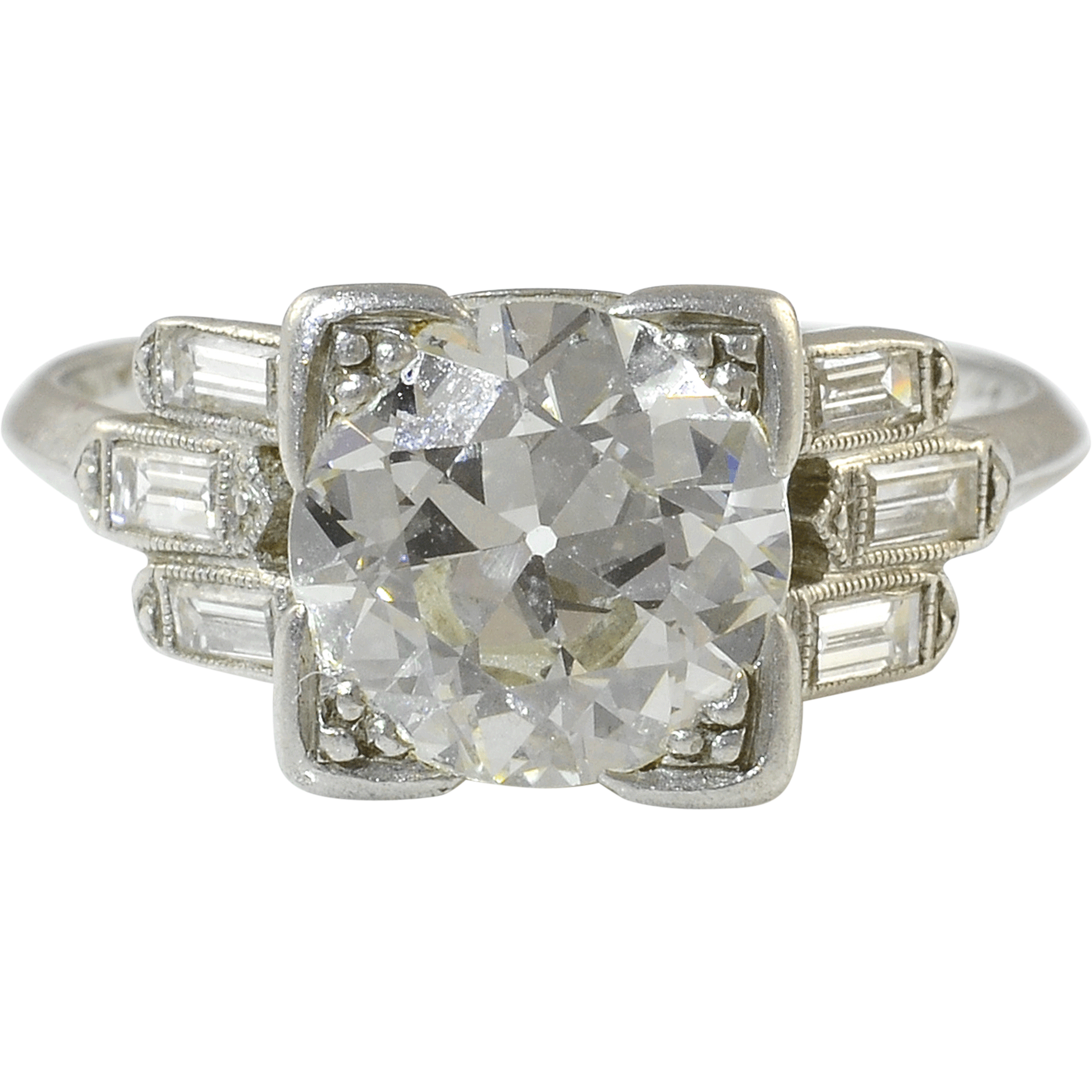 Platinum Art Deco VVS2 2.36 Carat Center Diamond Ring