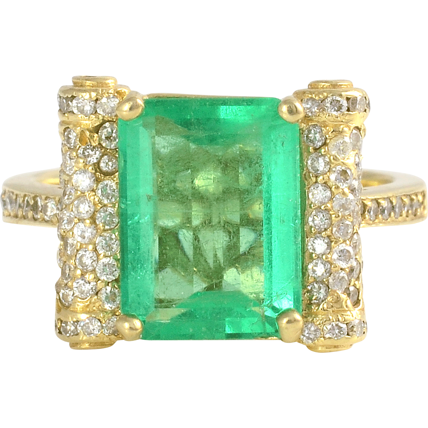 3.62 Carat Emerald Ring with Diamonds