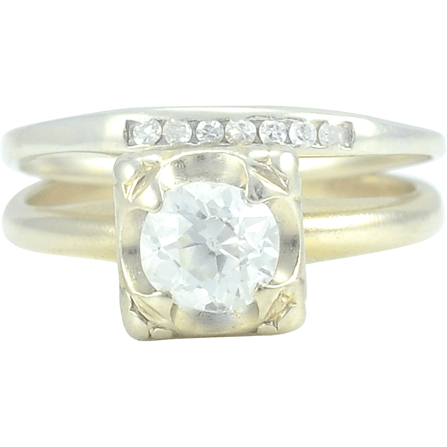 VS2 Center Diamond Art Deco Ring with Band