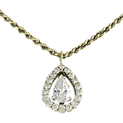 Platinum 1.02 Carat Center Pear Diamond Pendant on Chain