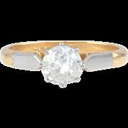 VS2 0.88 Carat Platinum and 18K Solitaire Diamond Ring