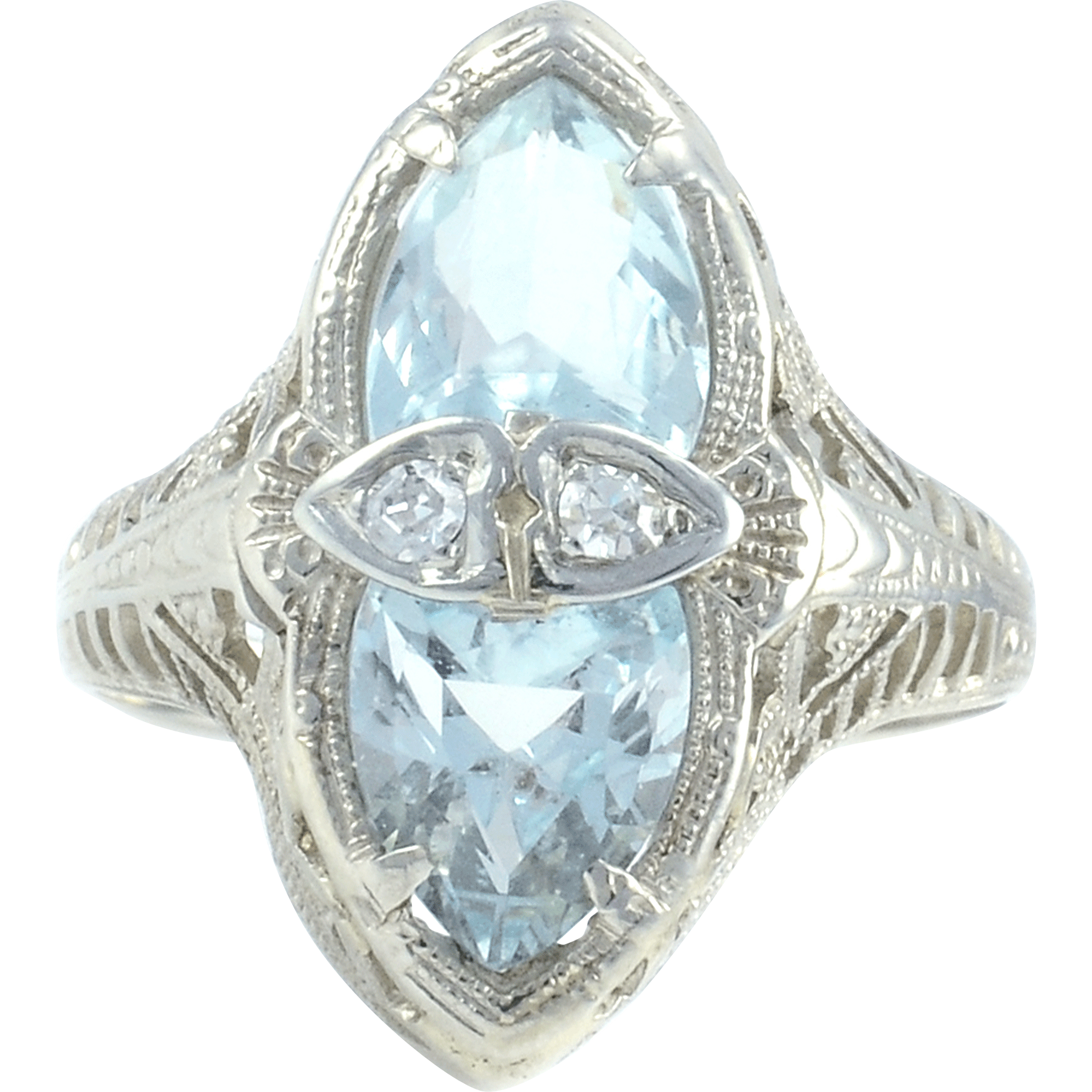 3.0 CTW Aquamarine Art Deco Ring