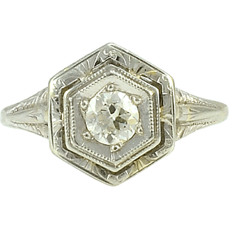 18 Karat White Gold Art Deco Diamond Ring