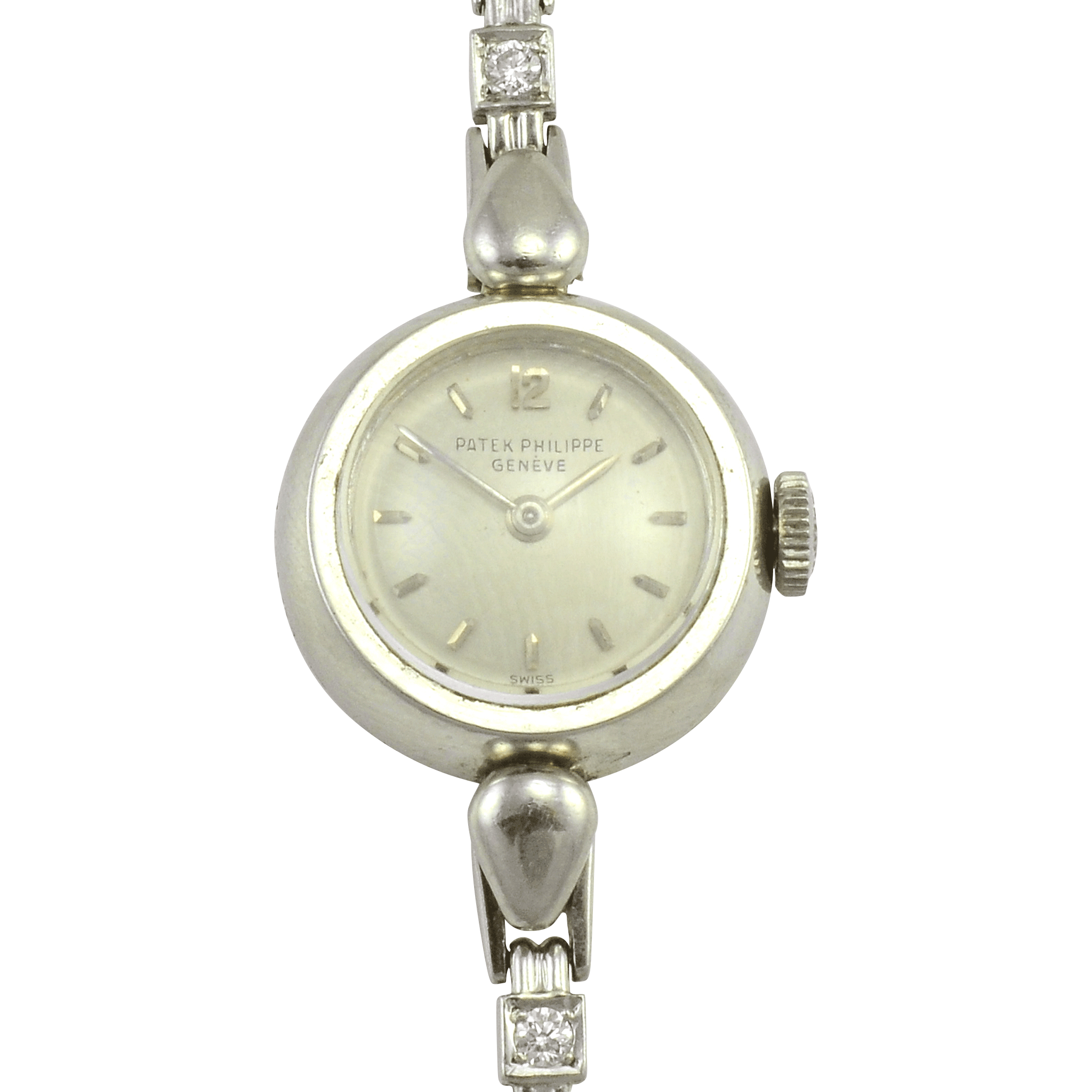 Swiss Patek Philippe Ladies Diamond Platinum Wrist Watch