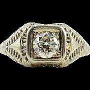 Art Nouveau 18 Karat White Gold 0.80 Carat Diamond Ring