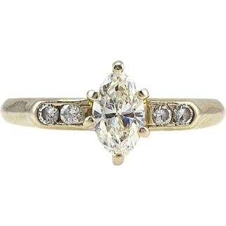 0.50 Carat Center Marquise Diamond Ring