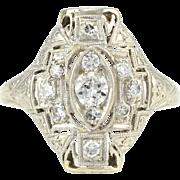 Platinum and 18 Karat White Gold Art Deco Diamond Ring