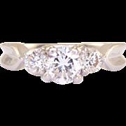 Platinum 0.60 Carat Center Diamond Ring
