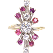 0.90 Carat Center Diamond and Ruby Ring