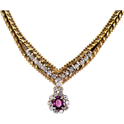 1.45 Carat Ruby and Diamond Chevron Necklace