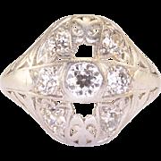 Art Deco 0.24 Carat Diamond Platinum Ring