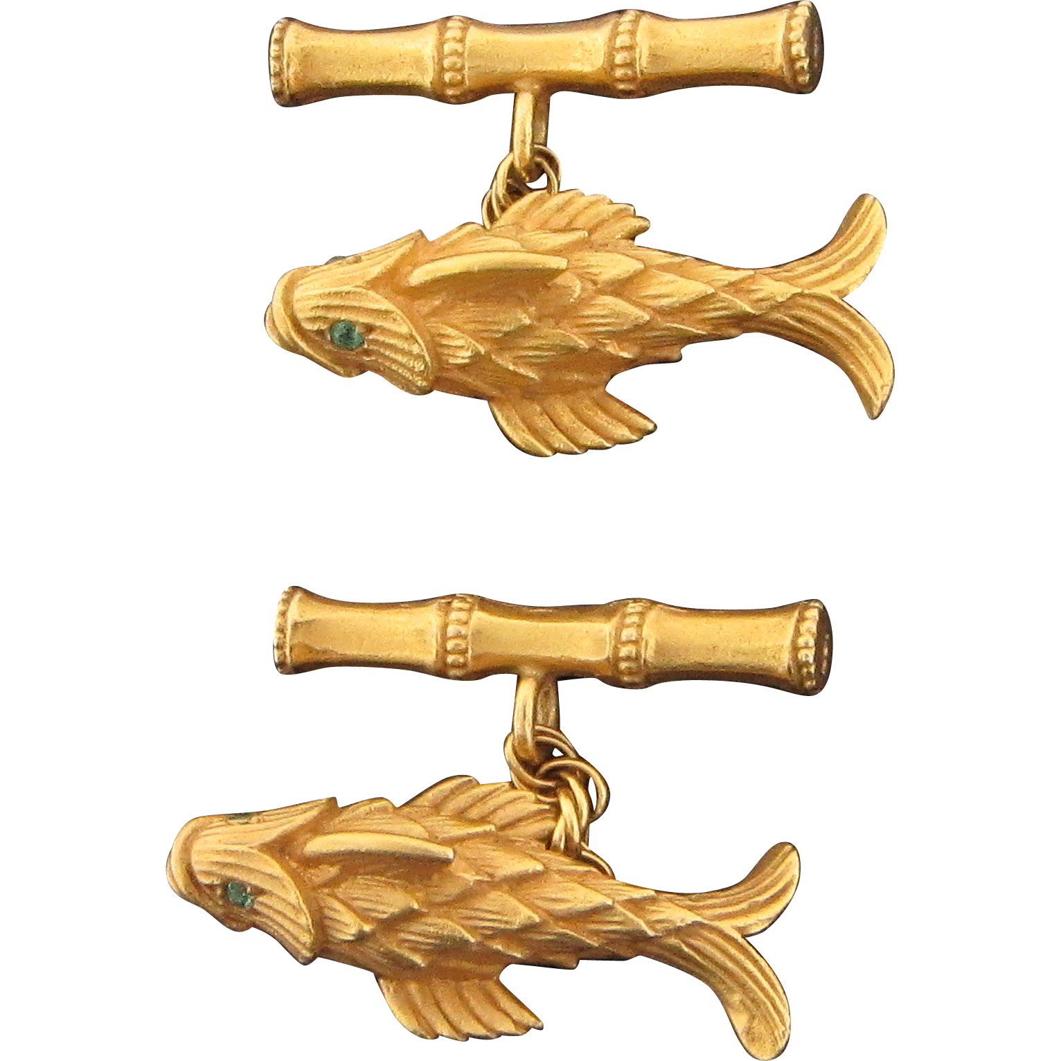 14 Karat Yellow Gold Emerald Eyed Fish Design Cufflinks
