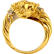 Double Lion Head Ruby 18K Gold Ring