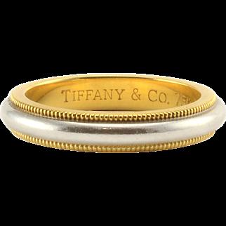Tiffany & Co Platinum and 18K Gold Milgrain Band