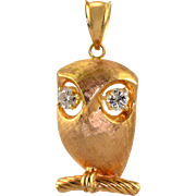 Diamond Owl Pin or Pendant