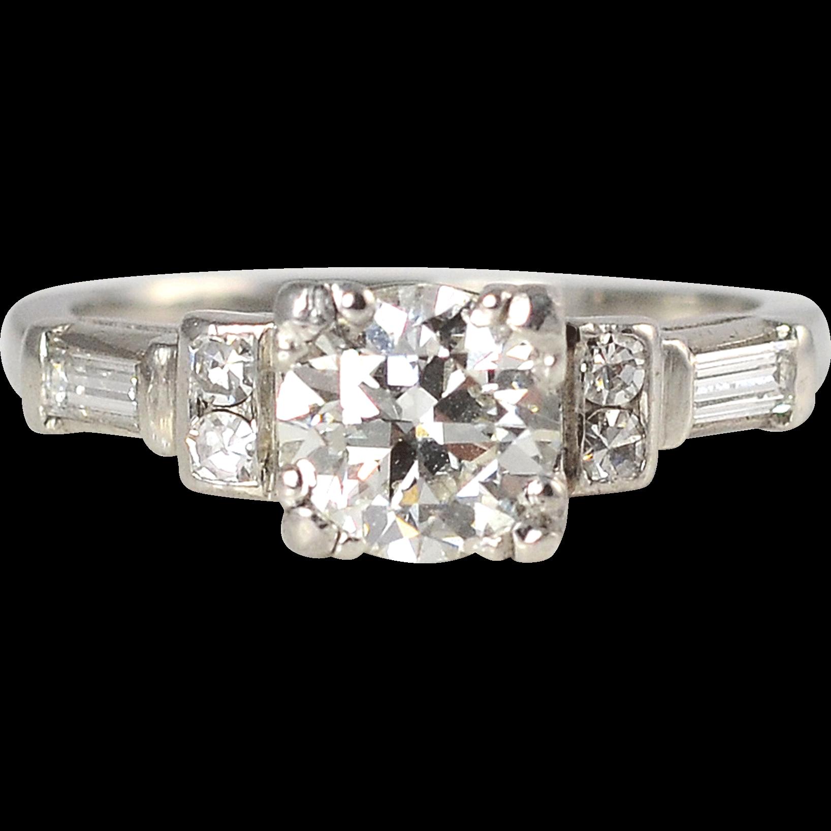 Platinum 1.05 CTW Diamond Engagement Ring